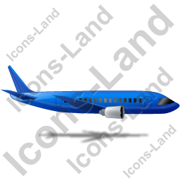 Airliner Right Blue Icon, PNG/ICO, 256x256