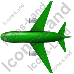 Airliner Top Green Icon, PNG/ICO, 256x256
