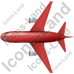 Airliner Top Red Icon, PNG/ICO, 256x256