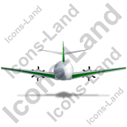 Airplane Back Green Icon, PNG/ICO, 256x256