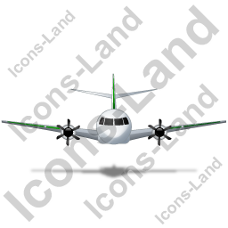 Airplane Front Green Icon, PNG/ICO, 256x256