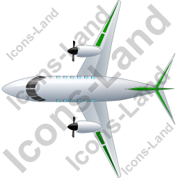 Airplane Top Green Icon, PNG/ICO, 256x256