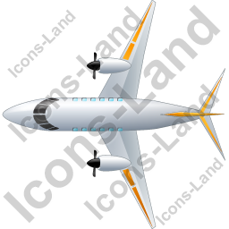 Airplane Top Yellow Icon, PNG/ICO, 256x256