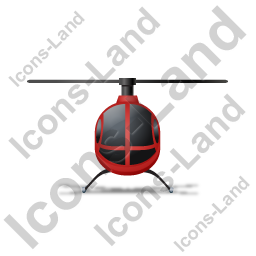 Helicopter Front Red Icon
