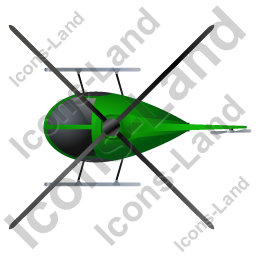 Helicopter Top Green Icon, PNG/ICO, 256x256