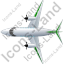 Airplane Top Green Icon, PNG/ICO, 64x64