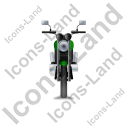 Cruiser Motorcycle Front Green Icon, PNG/ICO, 128x128
