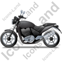 Cruiser Motorcycle Left Black Icon, PNG/ICO, 128x128