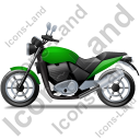 Cruiser Motorcycle Left Green Icon, PNG/ICO, 128x128