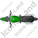 Cruiser Motorcycle Top Green Icon, PNG/ICO, 128x128