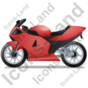 Motorcycle Left Red Icon, PNG/ICO, 128x128