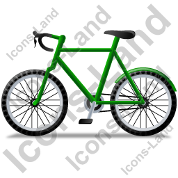 Bicycle Left Green Icon, PNG/ICO, 256x256