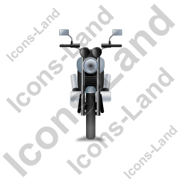 Cruiser Motorcycle Front Grey Icon, PNG/ICO, 256x256