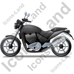 Cruiser Motorcycle Left Black Icon, PNG/ICO, 256x256