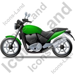 Cruiser Motorcycle Left Green Icon, PNG/ICO, 256x256