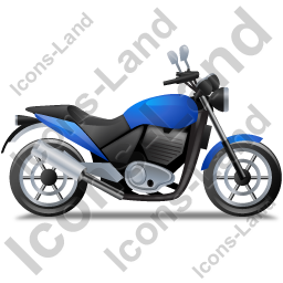 Cruiser Motorcycle Right Blue Icon, PNG/ICO, 256x256