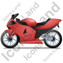 Motorcycle Left Red Icon, PNG/ICO, 256x256