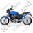 Cruiser Motorcycle Left Blue Icon