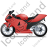 Motorcycle Left Red Icon, PNG/ICO, 48x48