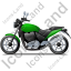 Cruiser Motorcycle Left Green Icon