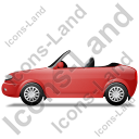 Cabriolet Left Red Icon, PNG/ICO, 128x128