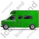 Camper Van Left Green Icon, PNG/ICO, 128x128