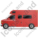 Camper Van Left Red Icon, PNG/ICO, 128x128