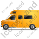 Camper Van Left Yellow Icon, PNG/ICO, 128x128