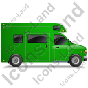 Camper Van Right Green Icon, PNG/ICO, 128x128