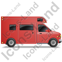 Camper Van Right Red Icon, PNG/ICO, 128x128