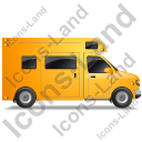Camper Van Right Yellow Icon, PNG/ICO, 128x128