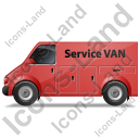 Service Van Left Red Icon, PNG/ICO, 128x128