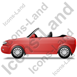 Cabriolet Left Red Icon, PNG/ICO, 256x256