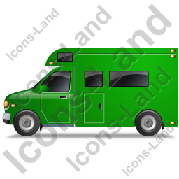 Camper Van Left Green Icon, PNG/ICO, 256x256
