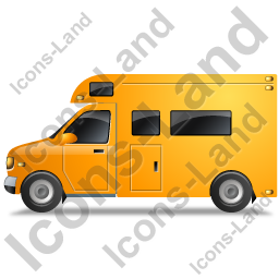 Camper Van Left Yellow Icon, PNG/ICO, 256x256