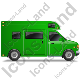 Camper Van Right Green Icon, PNG/ICO, 256x256