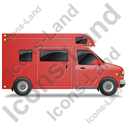 Camper Van Right Red Icon, PNG/ICO, 256x256