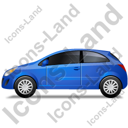Hatchback Left Blue Icon, PNG/ICO, 256x256