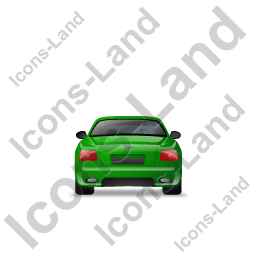 Luxury Car Back Green Icon, PNG/ICO, 256x256