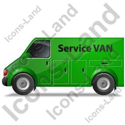 Service Van Left Green Icon, PNG/ICO, 256x256