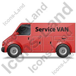 Service Van Left Red Icon, PNG/ICO, 256x256
