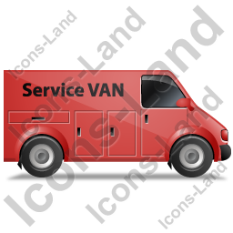 Service Van Right Red Icon, PNG/ICO, 256x256