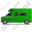 Camper Van Left Green Icon, PNG/ICO, 64x64