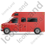 Camper Van Left Red Icon, PNG/ICO, 64x64