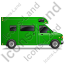 Camper Van Right Green Icon, PNG/ICO, 64x64