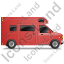 Camper Van Right Red Icon, PNG/ICO, 64x64