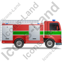 Fire Truck Right Green Icon, PNG/ICO, 128x128