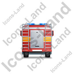 Fire Truck Back Yellow Icon, PNG/ICO, 256x256