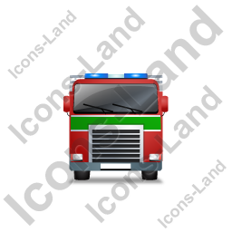 Fire Truck Front Green Icon, PNG/ICO, 256x256