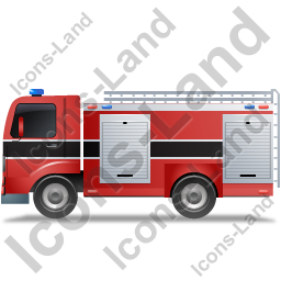 Fire Truck Left Black Icon, PNG/ICO, 256x256